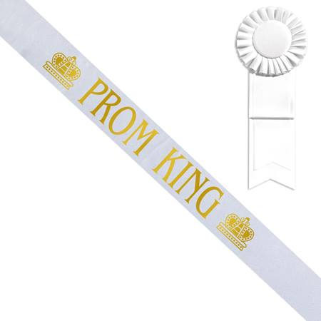 White Prom King Sash