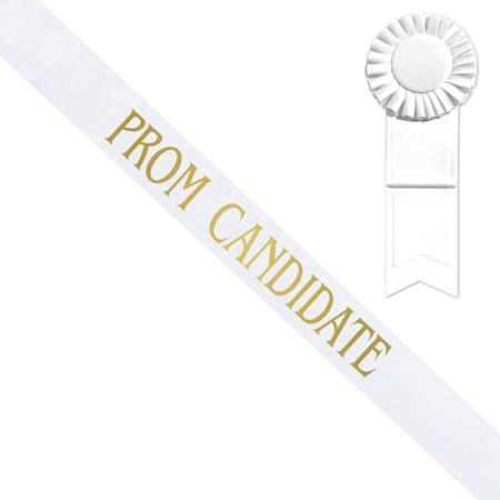 White Prom Candidate Sash With Gold Print