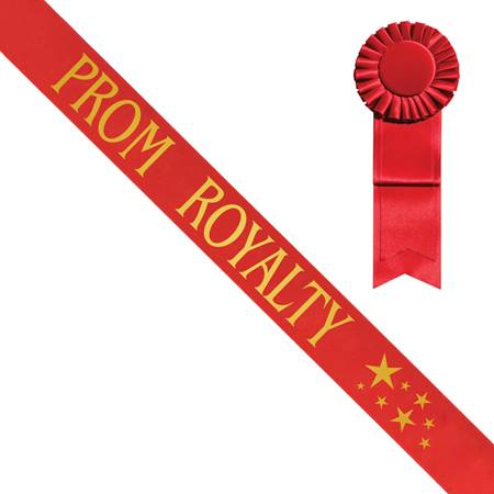 Red Satin Prom Royalty Sash with Gold Stars
