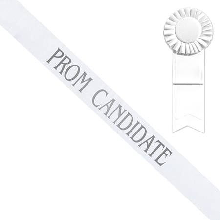 White Prom Candidate Sash - Silver Print