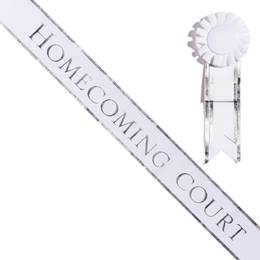 Homecoming Court White Sash with Rosette - Silver Edges