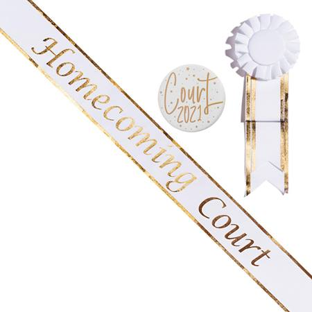 Homecoming Prince Sash with Button Set - Gold Edge