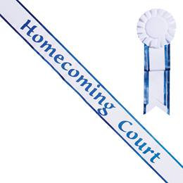 Homecoming Court White Sash with Rosette - Blue Edges