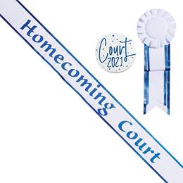 Homecoming Court White Sash with Rosette and Button Set - Blue Edges