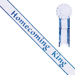 Homecoming King White Sash with Rosette - Blue Edges