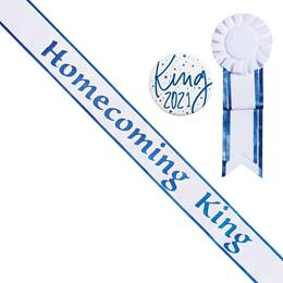 Homecoming King White Sash with Rosette and Button Set - Blue Edges
