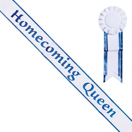 Homecoming Queen White Sash with Rosette - Blue Edges