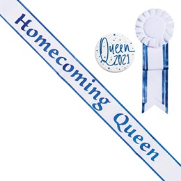 Homecoming Queen White Sash with Rosette and Button - Blue Edges