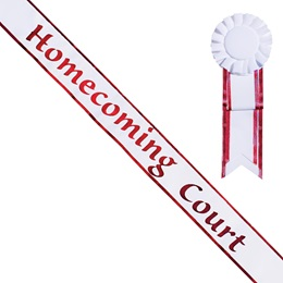Homecoming Court White Sash with Rosette - Red Edges