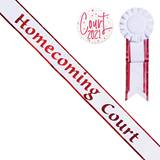 Homecoming Court White Sash with Rosette and Button - Red Edges