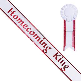 Homecoming King White Sash with Rosette - Red Edges