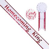 Homecoming King White Sash with Rosette and Button - Red Edges