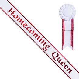 Homecoming Queen White Sash with Rosette - Red Edges