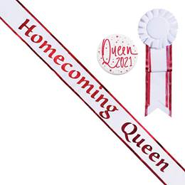 Homecoming Queen White Sash with Rosette and Button - Red Edges
