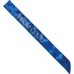Satin Prom Court Sash - Blue and Gold