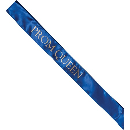 Satin Prom Queen Sash - Blue and Gold