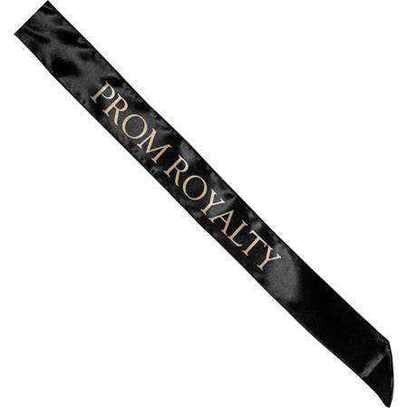 Satin Prom Royalty Sash - Black and Gold