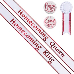 Homecoming King and Queen Sash Set - Red/White