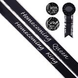 Homecoming King and Queen Sash Set - Black/Silver