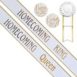 Homecoming King and Queen Sashes Set - White/Gold