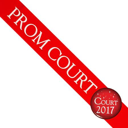 Prom Court Sash With Button - Red