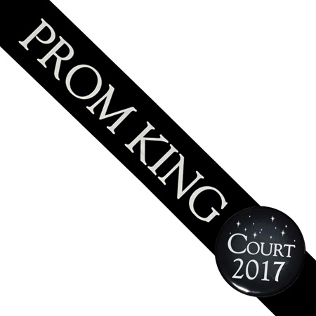 Prom King Sash With Button - Black