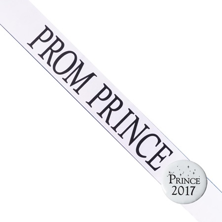 Prom Prince Sash With Button - White