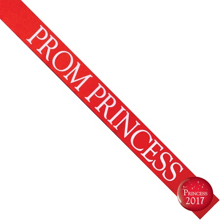 Prom Princess Sash With Button - Red