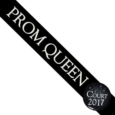 Prom Queen Sash With Button - Black
