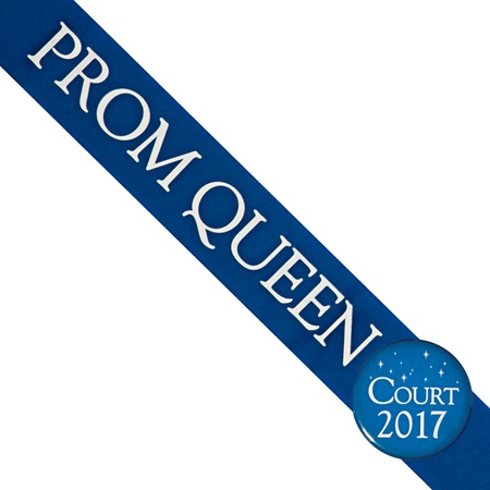 Prom Queen Sash With Button - Blue