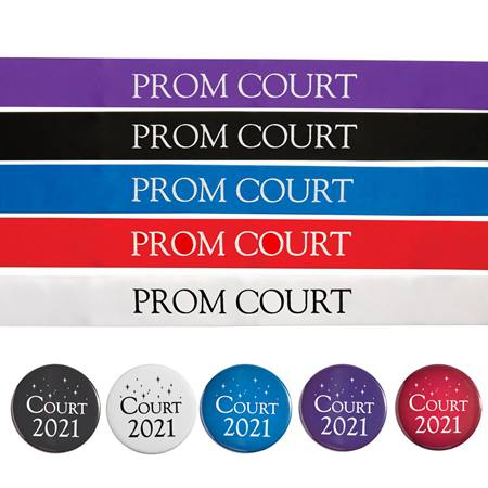 Prom Court Ribbon Sash and Button Set