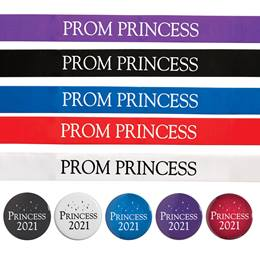 Prom Princess Ribbon Sash and Button Set
