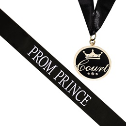 Prom Prince Sash and Medallion Set - Black/White