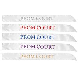 White Satin Prom Court Sash
