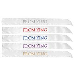 White Satin Prom King Sash