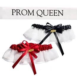 Prom Queen Sash and Garter Set - White/Black