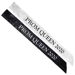 Satin Prom Queen 2020 Sash Black and White