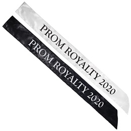 Satin Prom Royalty 2020 Sash Black and White