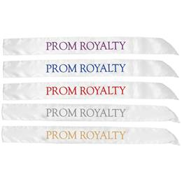 White Satin Prom Royalty Sash