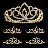 Prom Tiara Set - Gold Sasha Queen and Gold Lady-in-Waiting Court