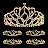 Prom Tiara Set - Gold Mirabella Queen & Gold Kiley Court