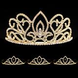 Prom Tiara Set - Gold Adele Queen and Gold Chelsey Court