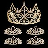 Prom Tiara Set - Gold Darlene Queen & Gold Toni Court