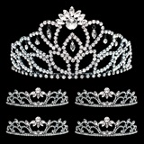 Prom Tiara Set - Black Marissa Queen & Black Madison Court