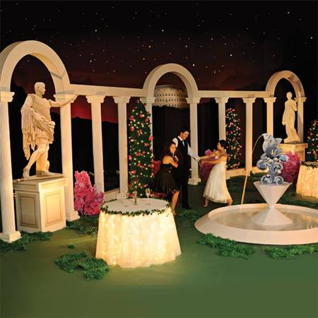 Corinthian courtyard complete theme prom nite for Ancient greek decoration ideas
