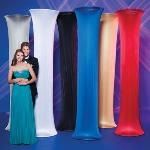 Red and Blue Fabric Columns