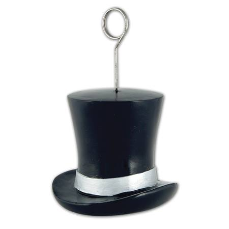 Black & Silver Top Hat Photo/Balloon Holder