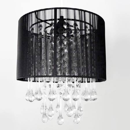 Crystal Teardrop Chandelier - Black