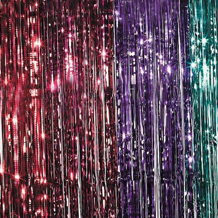 Metallic curtains prom nite for 80s prom decoration ideas