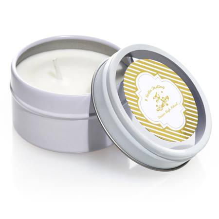 Round Candle Tin with Metallic Foil Label - Gold Lines